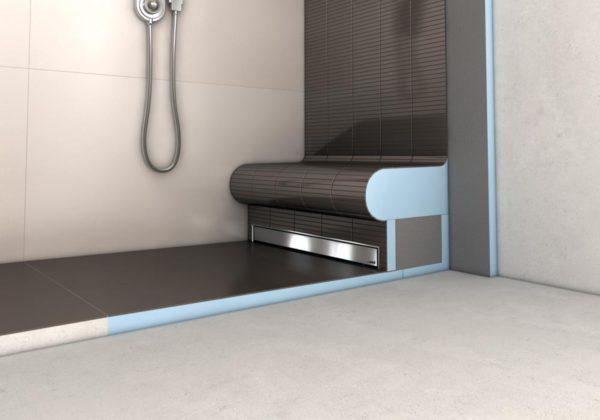 receveur avec vacuation lin aire et coulement int gr. Black Bedroom Furniture Sets. Home Design Ideas