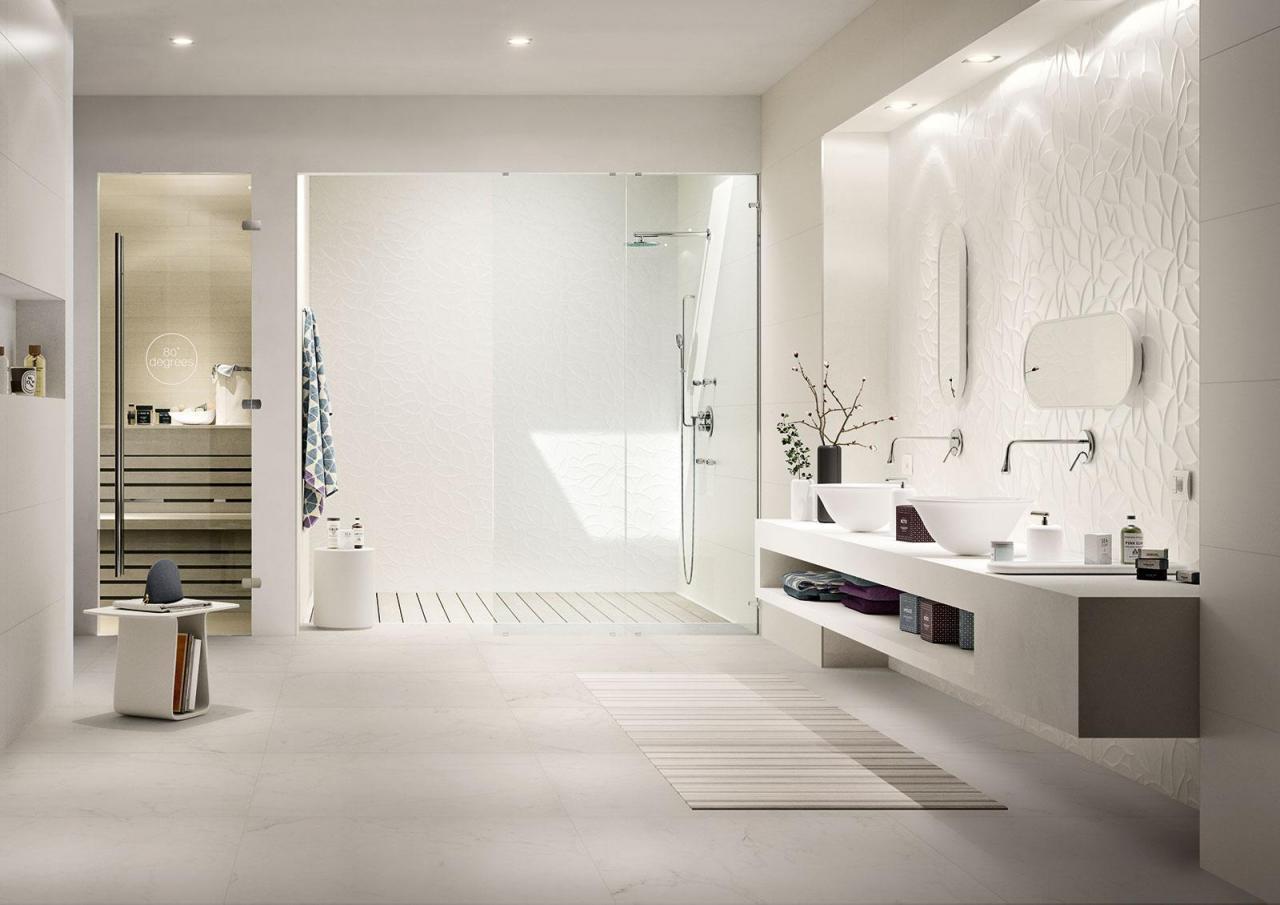 Faillance Salle De Bain carrelage blanc pour une salle de bain aux structures 3d